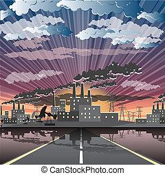 stad, industriebedrijven