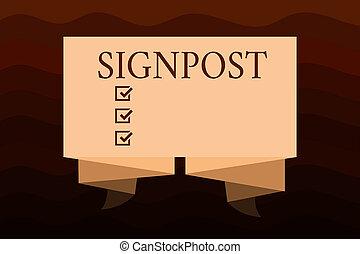stad, information, riktning, begrepp, signpost., distans, ge sig, text, underteckna, betydelse, sådan, handstil, närbelägen