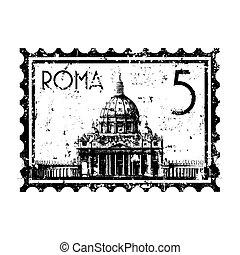 stad, isolerat, illustration, singel, vektor, vatikanen, ...