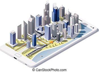 stad, isometric, vektor, navigation, ikon