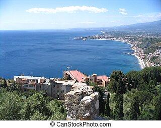 stad, italië, taormina, sicilië