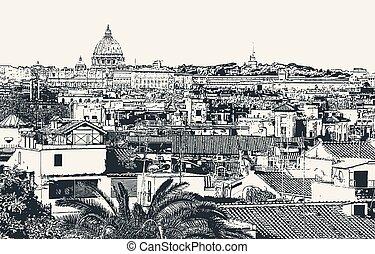 stad, italien, avbild, rom, vektor, huvudstad