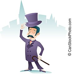 stad, ivrig, vektor, affärsman, årgång, tecken, hälsning, illustration, tecknad film, bravorop, gentleman, design, retro, bakgrund, engelsk, stilig, ikon, viktorian, storbritannien, möta