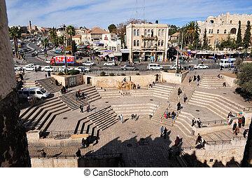 stad,  jerusalem, gammal