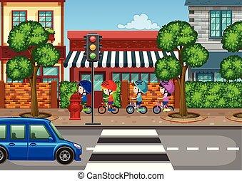 stad, jongen, fiets te rijden