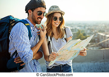 stad kaart, koppeel vakantie, vrolijke , sightseeing