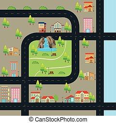 stad kaart, met, straat, en, velen, bekende & bijzondere plaatsen