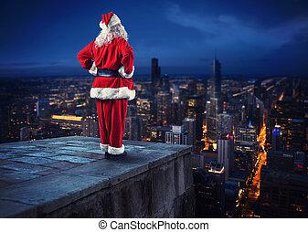 stad, kadootjes, claus, bezorgen, dons, wachten, blik, kerstman