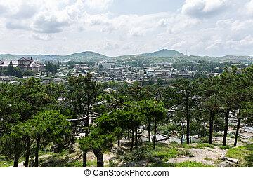 stad, kaesong, korea, noorden, aanzicht
