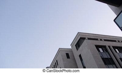 stad, kantoor, geleider, blockhouses