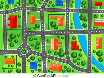 stad, karta, förort