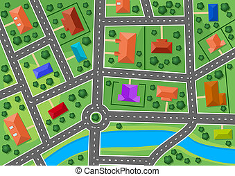 stad, karta, litet, förort, by, eller