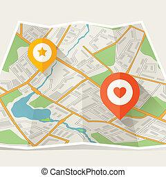 stad kartlagt, abstrakt, hoplagd, lokalisering, markers.