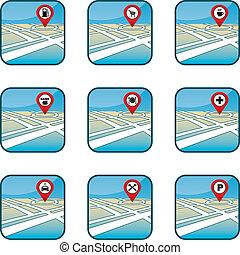 stad kartlagt, gps, ikonen
