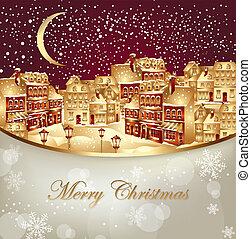 stad, kerstmis