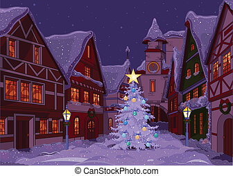 stad, kerstmis, nacht