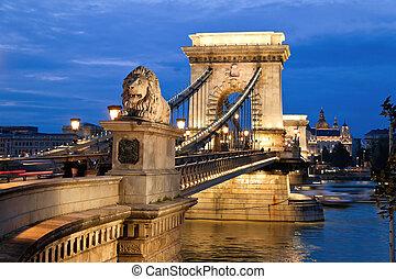 stad, ketting, back., boedapest, hongarije, aanzicht