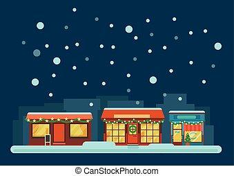 stad, kleine, straat, winter, nacht