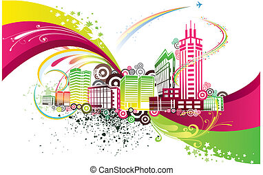 stad, kleurrijke, achtergrond