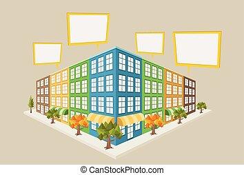 stad, kleurrijke, blok