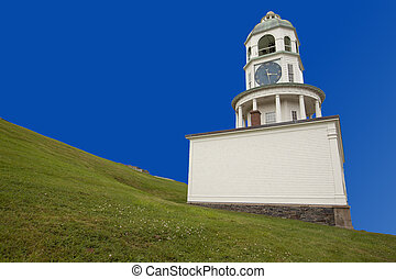 stad, klok, historisch, heuvel, halifax, citadel