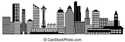 stad, konst, klippa, panorama, horisont, seattle