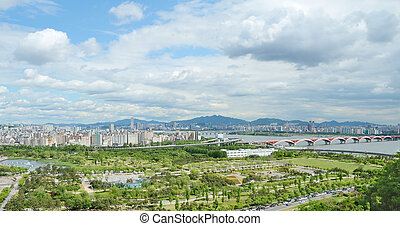 stad, korea, seoul, aanzicht