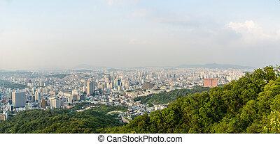 stad, korea, seoul, panorama, aanzicht