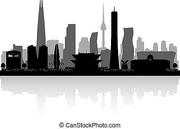 stad, korea, silhuett, seoul, horisont, syd