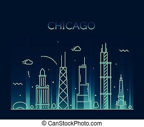 stad, kunst, chicago, skyline, vector, modieus, lijn