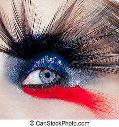 stad, kvinna öga, makro, smink, svart, natt, ögonlock, fågel