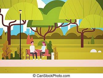 stad, kvinna avkopplande, sitta, par, meddela, parkera bänken, talande, natur, man
