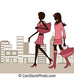 stad, kvinnor