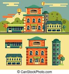 stad, lägenhet, bebyggelse, elementara, ikonen, set., vektor, gata, design, liten, style., landskap