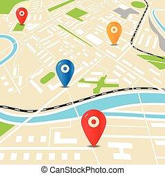 stad, lägenhet, färg, abstrakt, illustration, karta, design, pins.