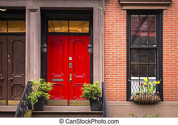 stad, lägenhet, gammal, dörr, york, färsk, röd