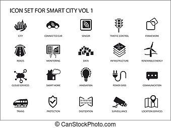 stad, lägenhet, ikonen, symboler, vektor, design, smart