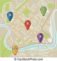 stad, lägenhet, karta, färg, abstrakt, illustration, design, nålen