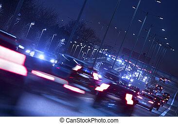 stad lätta, trafik, natt, stor