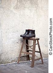 stad, leven, oud, laarzen, rubber, suzhou, china, paar, nog