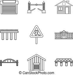 stad, levensstijl, iconen, set, schets, stijl