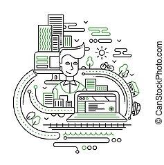 stad, levensstijl, samenstelling, -, lijn, ontwerp, illustratie
