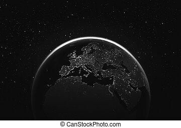 stad, lig, ruimte, donker, aarde, aanzicht