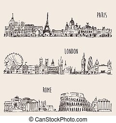 stad, london, rom, sätta, paris, illustration, inrista