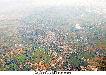 stad, luchtopnames, centrum, aanzicht