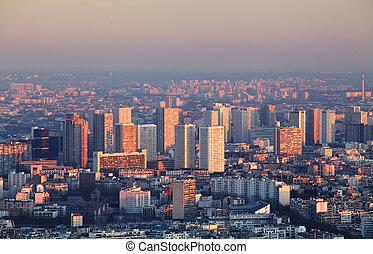 stad, luchtopnames, parijs, panorama, -, ondergaande zon , aanzicht