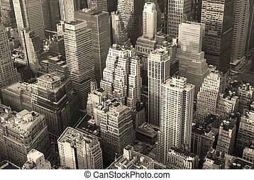 stad, luchtopnames, skyline, black , york, nieuw, witte , manhattan, aanzicht