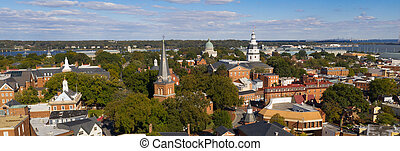 stad, luchtopnames, woning, annapolis, panoramisch, toestand hoofdstad, maryland, aanzicht