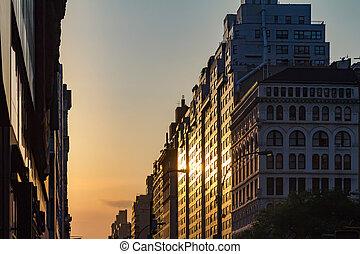stad, manhattanhenge, ondergaande zon , york, nieuw