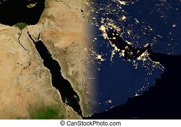 stad, map., peninsula., lichten, arabisch, wereld